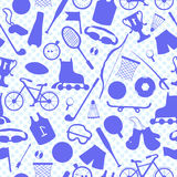 Seamless background on the theme of summer sports, blue outlines of sports equipment on a light background polka dot Royalty Free Stock Photos
