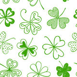 Seamless background with three leaf clover. St. Patrick's day doodle seamless background with shamrock vector illustration