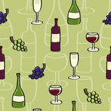 Wine Seamless background tile in Cartoon Style Royalty Free Stock Images