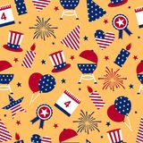 Seamless background to the day of independence of the USA. Seamless pattern for Independence Day - USA national holiday Fourth of. July stock illustration