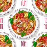 Seamless background of tom yum kung. Asian food. tom yum kung. seamless background of appetizing traditional Thai soup with shrimps. Hand-drawn illustration Royalty Free Stock Photo
