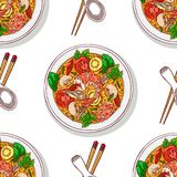 Seamless background of tom yum kung. Asian food. tom yum kung. seamless background of appetizing traditional Thai soup with shrimps. Hand-drawn illustration Royalty Free Stock Photography