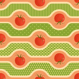 Seamless background with tomatoes image, light stripes, patterned rounded forms. Stock Photography