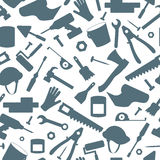 Seamless background on the topic of construction and repair, construction equipment, simple contour icons,dark  silhouettes on whi Royalty Free Stock Photo