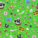 Seamless illustration of the topic of piracy and Maritime travel color patch icons on green background. Seamless background of the topic of piracy and Maritime Royalty Free Stock Image