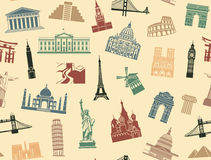 Seamless background tourist attractions Stock Photos