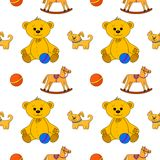 Seamless background, toys. Vector seamless background, toys: teddy bear with ball, dog and horsy Royalty Free Stock Photography