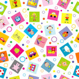 Seamless background with toys and cartoon kids Stock Photo