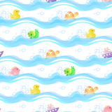 Seamless background with toys duck, fish, turtle, snail, boat, floating on the water among the suds. Seamless pattern on white background with toys duck, fish Royalty Free Stock Photo