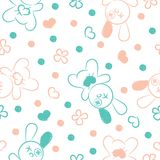 Seamless background with toys and hearts. Royalty Free Stock Images