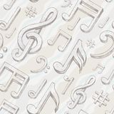 Seamless background with treble clef and notes Royalty Free Stock Images