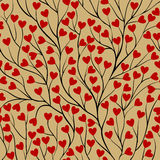 Seamless background with tree branches and leaf red heart. Royalty Free Stock Image