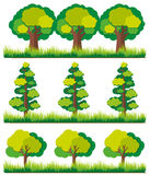 Seamless background with trees on grass. Illustration Stock Photos