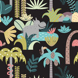 Seamless pattern with rain forest and animals Stock Image