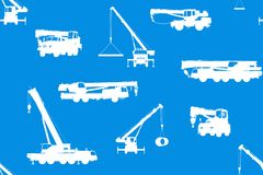 Seamless background with truck cranes. Vector illustration Royalty Free Stock Photos