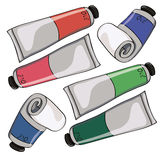 Seamless background with tubes of oil paint Royalty Free Stock Photo