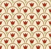 Seamless background with tulip in circle in nostalgic colors Royalty Free Stock Photos