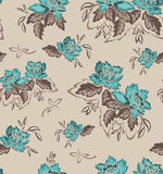 Seamless background with turquoise flowers Royalty Free Stock Photography