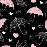 Seamless background with umbrella and hearts Royalty Free Stock Photography