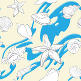 Seamless background underwater tropical fauna. Vector seamless hand drawn background underwater tropical fauna Royalty Free Stock Photo
