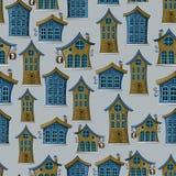 Seamless background of urban fairy houses Stock Photo
