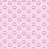 Seamless background of Valentine`s day illustration with cute heart in the circle on pink. Background suitable for Valentine`s day wallpaper, postcard, and Stock Images