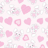 Seamless background of Valentine`s day illustration with cute pink bunny with love shape on pink background Stock Photo