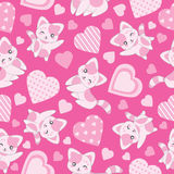 Seamless background of Valentine`s day illustration with cute pink cat and love shape on pink background. Suitable for Valentine`s wallpaper, scrap paper, and Stock Photography