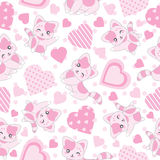 Seamless background of Valentine`s day illustration with cute pink cat and love shape on polka dot background. Suitable for Valentine`s wallpaper, scrap paper Royalty Free Stock Images