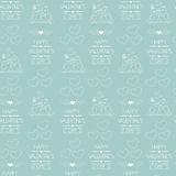 Seamless background for Valentine's day. Wrapping paper. Outlined icons. Blue.  Stock Photos