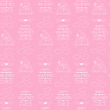 Seamless background for Valentine's day. Wrapping paper. Outlined icons.  Royalty Free Stock Images