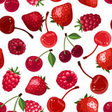Seamless background with various berries. Vector illustration. Royalty Free Stock Photo