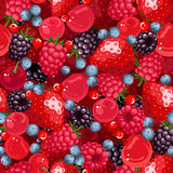 Seamless background with various berries. Vector illustration. Royalty Free Stock Photography