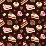 Seamless background with various cakes. Vector illustration. Royalty Free Stock Photography
