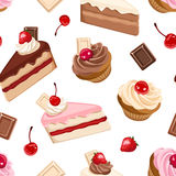 Seamless background with various cakes. Vector illustration. Stock Photo