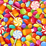 Seamless background with various candies. Royalty Free Stock Photography
