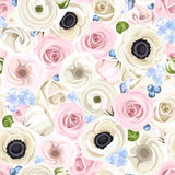 Seamless background with various flowers. Vector illustration. Royalty Free Stock Photo