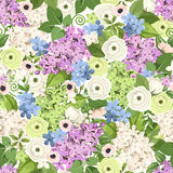 Seamless background with various flowers. Vector illustration. Stock Photo