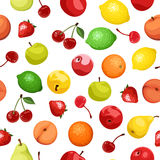 Vector Seamless background with various fruits. Stock Photography