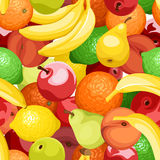 Vector seamless background with various fruits. Stock Image