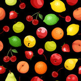 Seamless background with various fruits. Stock Images
