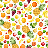 Seamless background with various fruits. Vector illustration. Royalty Free Stock Photos