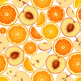 Seamless background with various orange fruits. Vector illustration. Royalty Free Stock Photo