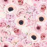 Seamless background with various pink flowers. Vector illustration. Royalty Free Stock Photo