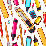 Seamless background. various stationery Stock Image