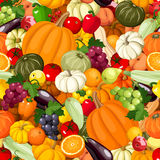Seamless background with various vegetables and fruits. Vector illustration. Stock Images