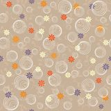 Seamless background in vector. Circle and Flowers Seamless Repeat Pattern Royalty Free Stock Images