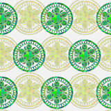 Seamless background in vector. Circles ethnic floral pattern Royalty Free Stock Images
