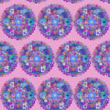 Seamless background in vector. Circles ethnic floral pattern Royalty Free Stock Photography