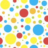 Seamless background vector color circles, composition of geometric shapes. bright children`s colorful circles, toys bubbles of al stock illustration